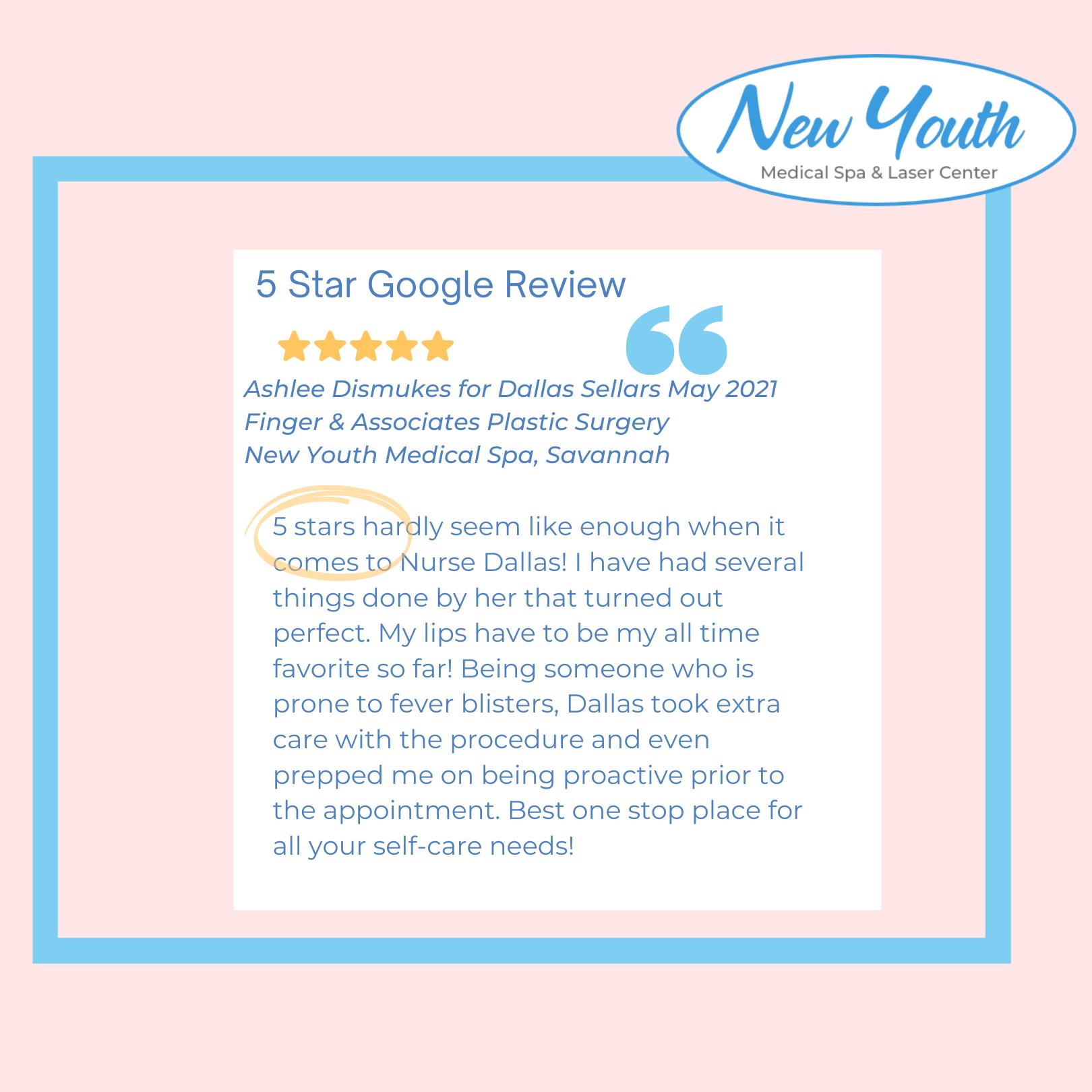 Google Review For Nurse Injector Dallas Sellars